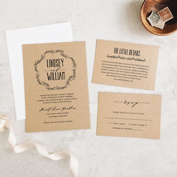 Wedding Invitation Template Printable Wedding Invitations Etsy