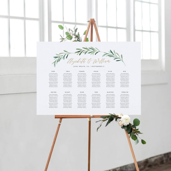 greenery wedding seating chart template printable seating etsy