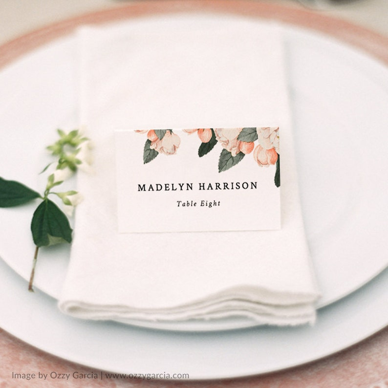 Floral Place Card Template Printable Place Cards Name Cards Vintage Wedding Wedding Place Cards Escort Cards Edit in Word or Pages