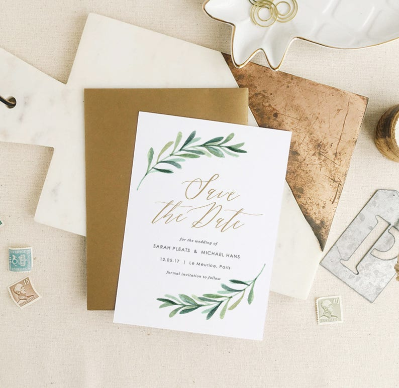 Greenery Save The Dates Template Printable Save the Date image 1
