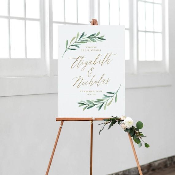 Greenery Wedding Welcome Sign Template Printable Welcome Etsy