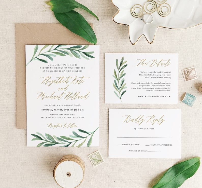 Greenery Wedding Invitation Template Printable Suite Botanical Calligraphy