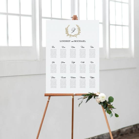 Classic Wedding Seating Chart Template Printable