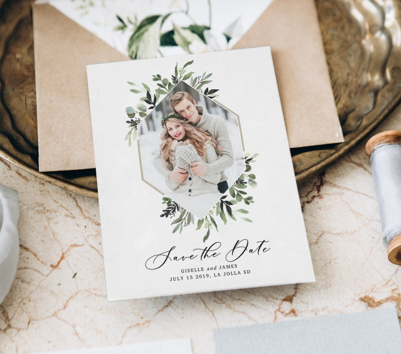 photo relating to Printable Save the Dates Templates called Greenery Help save The Dates Template, Printable Conserve the Day, Preserve Our Day