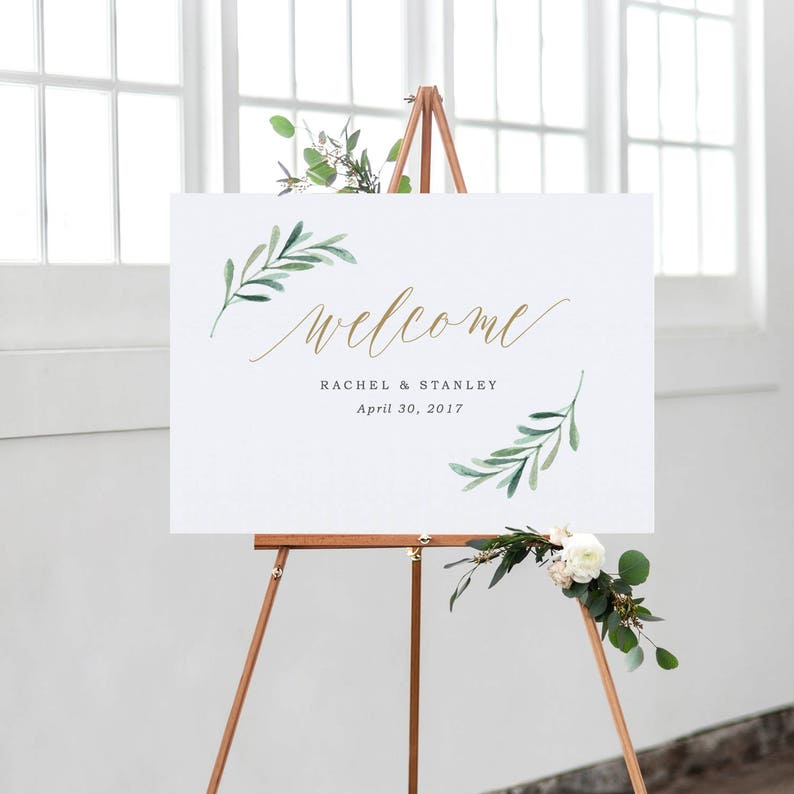 picture relating to Welcome Sign Template identified as Greenery Welcome Wedding day Signal Template, Printable Welcome Poster, Landscape Welcome Signal Edit within Phrase and Web pages