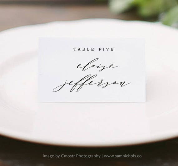 printable place card template wedding place cards editable etsy