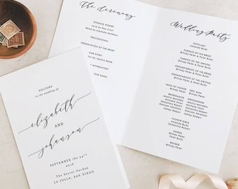 Wedding Programs Template, Printable Wedding Folded Program, Garden Rustic Theme | Edit in Word and Pages