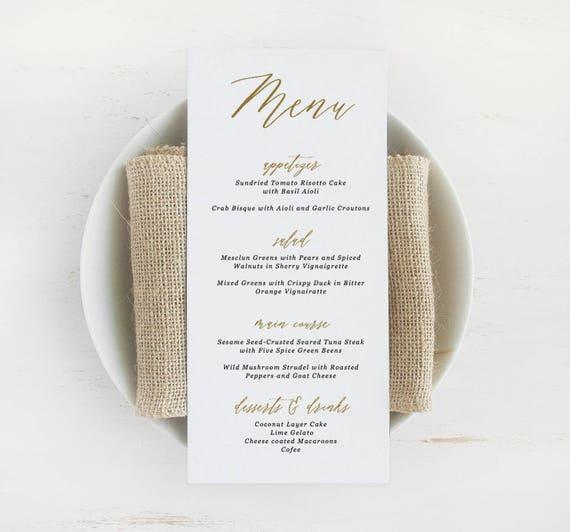 printable wedding menu template rustic wedding menu etsy