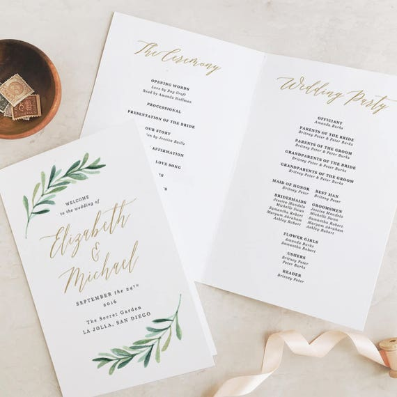 Greenery Wedding Programs Template Printable Wedding Folded | Etsy