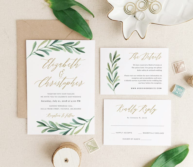 Greenery Wedding Invitation Template Printable Wedding image 0