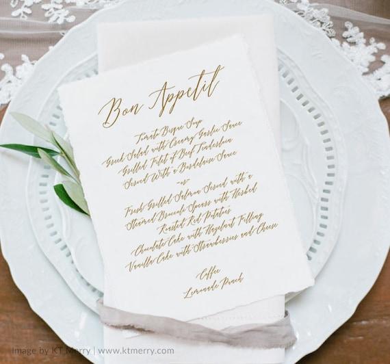 Wedding Menu Template Printable Wedding Menu Elegant Menu Etsy