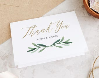 Greenery Thank You Card Template, Wedding Thank You Cards, Printable Thank You Cards, Greenery Wedding | Edit in Word or Pages