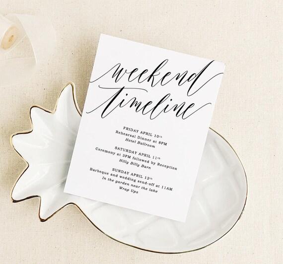 Wedding Weekend Card Weekend Timeline Wedding Timeline Card Etsy