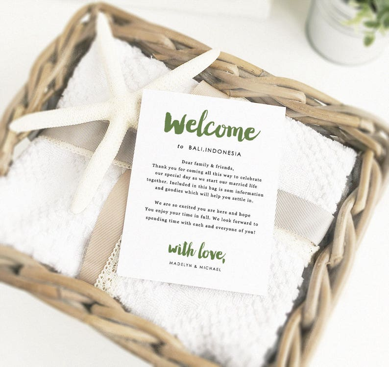 Printable Welcome Cards Wedding Welcome Cards Edit in Word or Pages Welcome Card Template Wedding Travel Cards