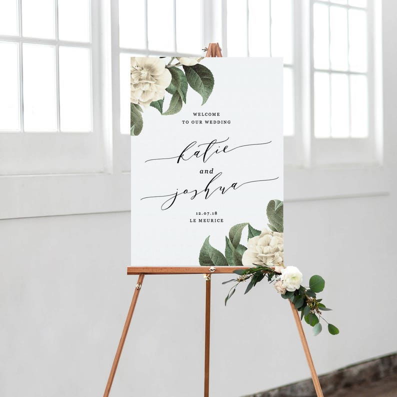 graphic regarding Welcome Sign Template named Classic Marriage ceremony Welcome Signal Template, Greenery Printable Welcome Poster, Calligraphy Welcome Indicator Editable within just Term and Internet pages