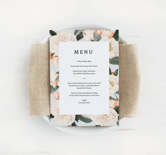 Printable wedding menu template printable menu wedding menu etsy image 0 maxwellsz