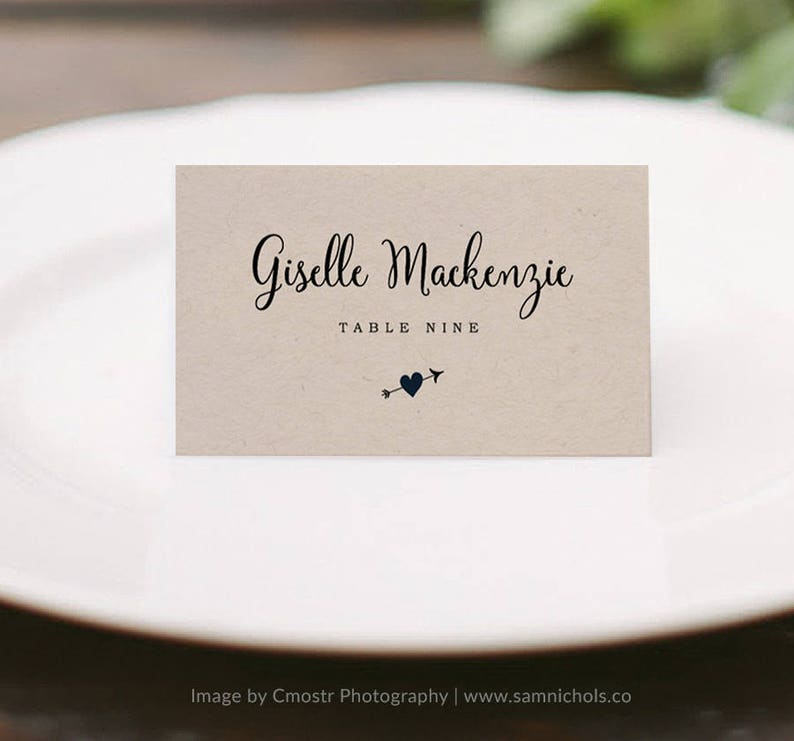 Printable place cards template Heart Arrow Wedding Wedding place cards Edit in Word or Pages Escort card Wedding name tags