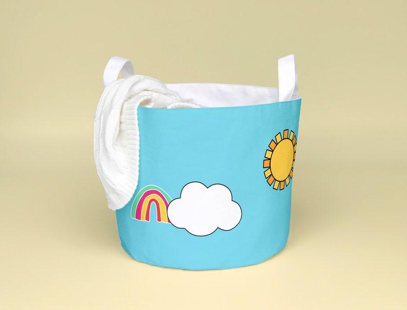 Rainbow baby laundry hamper Cloud nursery decor. | Etsy
