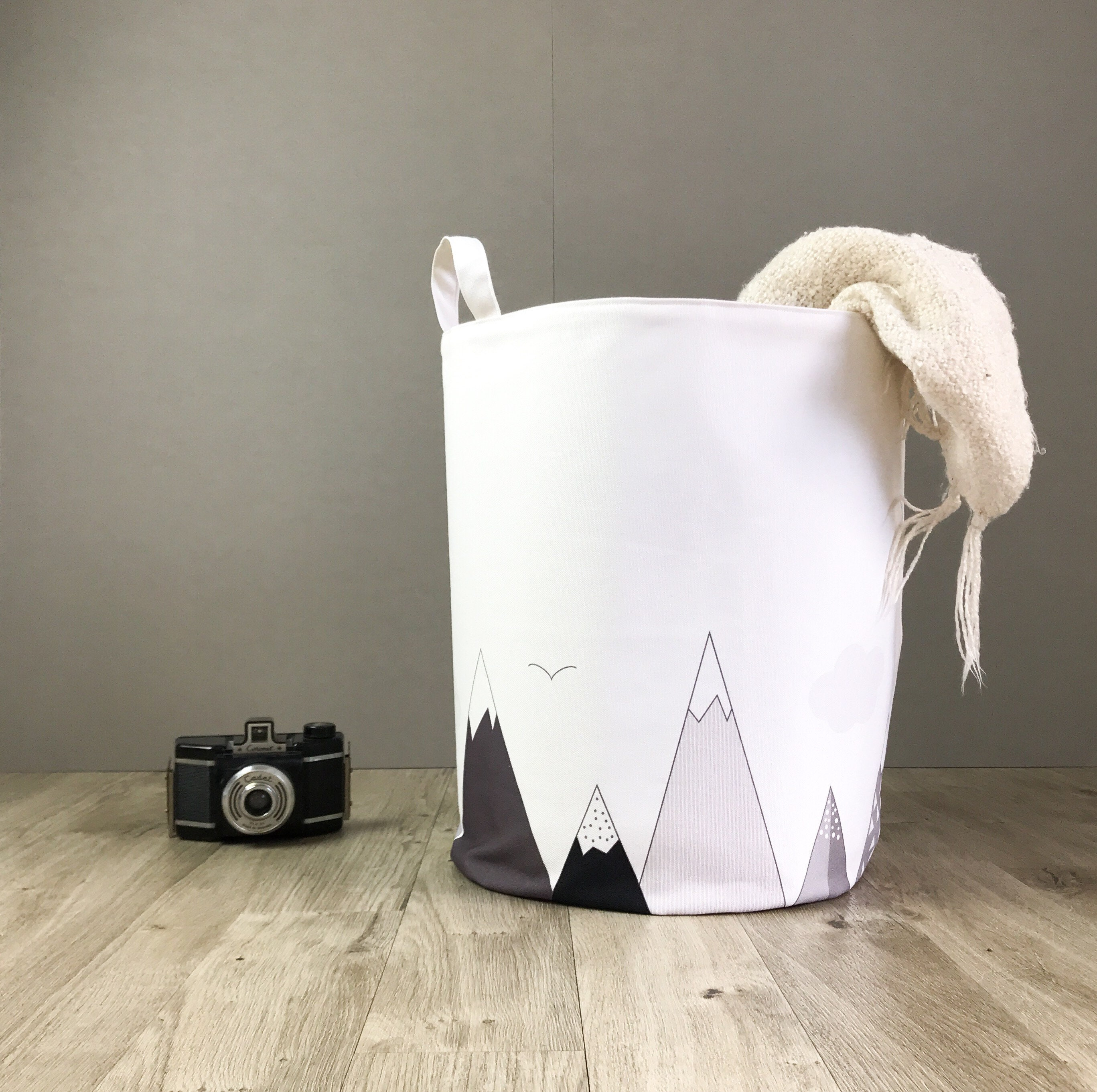 354f50982c Mountains nursery laundry hamper basket. Monochrome kids toy storage  basket. The mountains are calling baby hamper. Shoe storage basket.