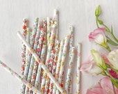 25 Pretty Floral Paper Straws, Mix of 3 Designs