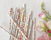 25 Pretty Floral Paper Straws, Mix of 3 Designs