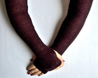 Hand made knitted long arm warmers