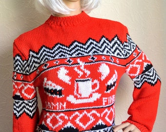 Hand Knitted Twin Peaks Mens Sweater Etsy