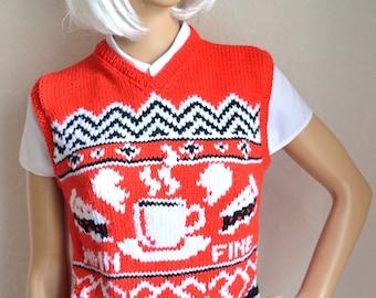 Hand knitted women's ''Twin peaks'' vest