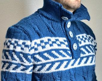 Hand knitted men's merino wool sweater