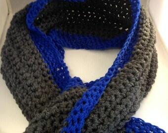 Blue crochet scarf, neck warmer, chunky crochet scarf, chunky scarf, gift for men, gift for him