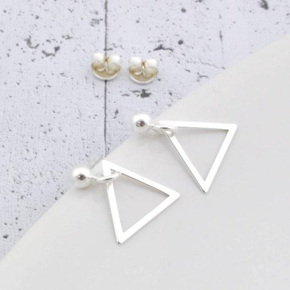 Corazón De Plata Pendientes De Aro Sleeper Triángulo UK