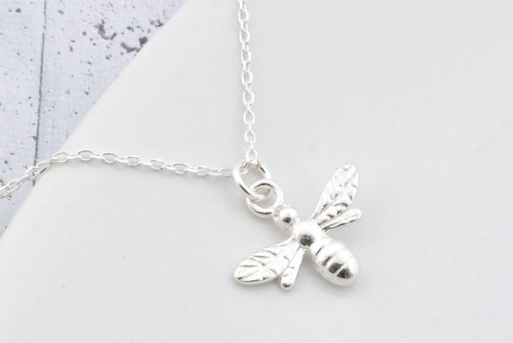 3c4b234a29f18 Sterling Silver Bee Necklace, Bee Pendant, Bee Charm, Queen Bee, Sterling  Silver Bee, Bee Jewelry, Little Bee, Gold Plated, Diva