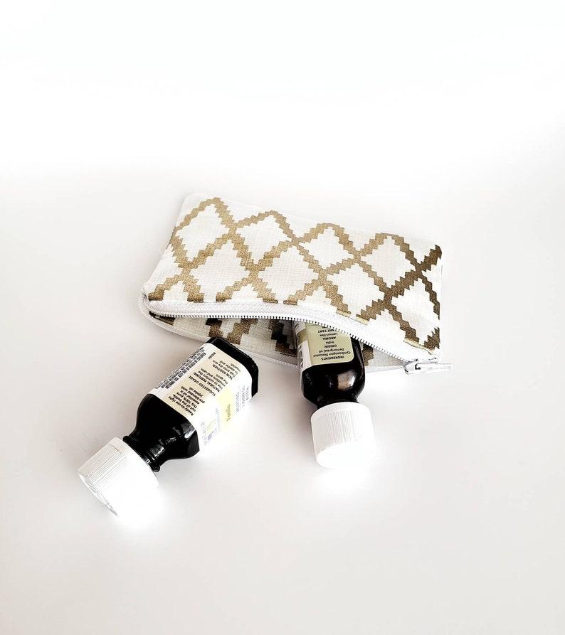 Glam Zipper Pouch Gold Mini Organizer Geometric Purse Organizer Glam Pouch Gold Mini Zipper Pouch