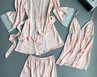 Women Pajama Sets - Silk Pajamas -Silk Sleepwear - Sleepover Pajamas - Silk  Shorts Sets - Sexy Pajamas - Pink Pajamas - Blue Pajamas - Gift 3dcf10f05