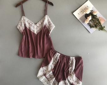 Women s pajama set - Satin Pajama Set -Sleepwear - Nightie Pajamas - Satin  sleepwear - Women Shorts Set - Gift for Christmas - Night Wear 90140b73e3