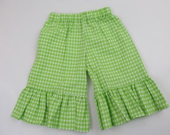 Item C 104 Toddler Girl's Boutique Style Ruffle Capris Size 2T Lime Green Houndstooth Cotton Fabric