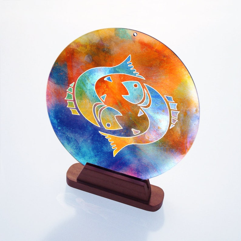 02 STAR SIGN  Pisces no \u00d8 8inch suncatcher glass picture window image shatterproof glass astrology gift decoration window terrace