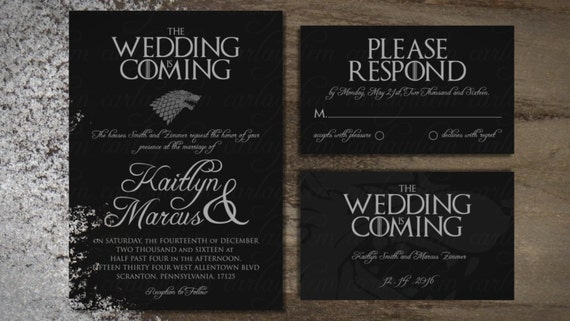 Game Of Thrones Printable Digital Wedding Invitations Invite Etsy
