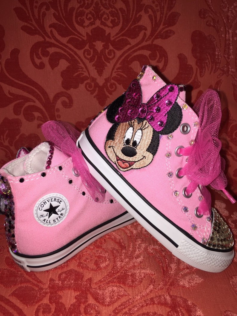 fc7778b9207a Adorable Minnie Mouse Converse Sneakers adorned with 100%