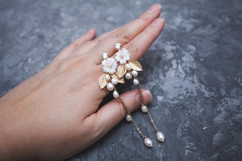 Long chain earrings flower Boho dangle earrings for bride Floral gold earrings Wedding earrings with bloom Extra long bridal earrings