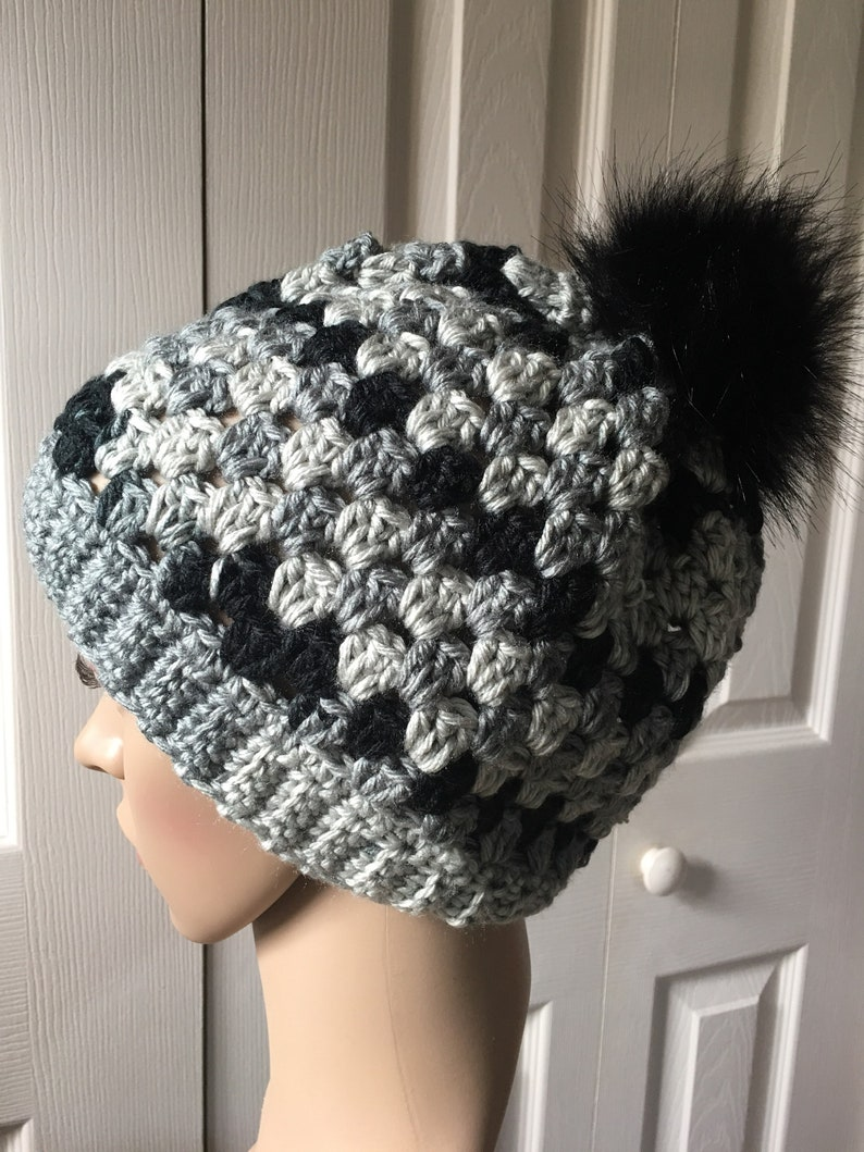 a896e3518 Beanie Hat with Faux Fur Pom-Pom! Slight slouch. Neutral color blend. Light  and dark Gray & black tones. Very soft yarn.