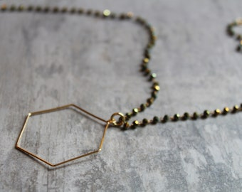 long necklace - geometric necklace - boho necklace - hexagon - lightweight - sparkly - gift for her - best friend gift - statement necklace