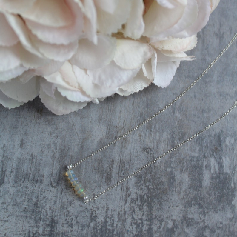 opal and sterling silver adjustable birthstone necklace