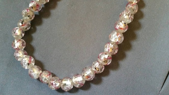 Variegated Pink Textured Foil Fleck Glass Beaded N