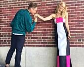Women 39 s Vintage Dress by Jessica McClintock for Gunne Sax Color Block Dress Size 1