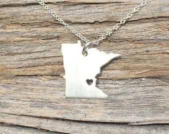 Minnesota State Necklace,  Minnesota Pendant, Sterling Silver, Minnesota Necklace, Gift for Her, 3 Sizes, Holiday Gifts, Wholesale Prices