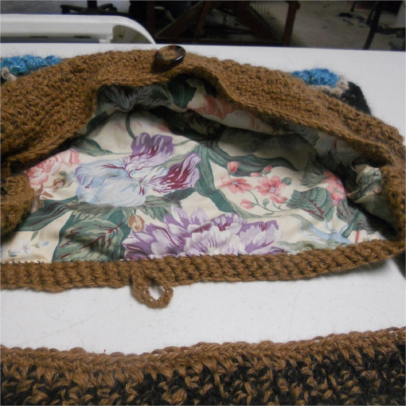 Button Accents Snazzy Shoulder Strap Crocheted Llama Yarn PurseTote Brown and Black with Blue Flowers Lined