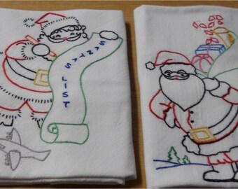 Santa Kitchen Flour Sack Dish Towel Set of 7--Or Buy Single Towel