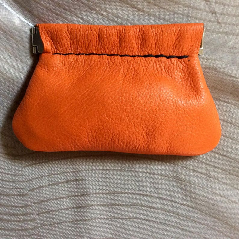 Orange coin purse,Squeeze Coin purse,leather purse soft purse,leather coin pouch,snap coin purse,squeeze frame purse,USA made,change purse