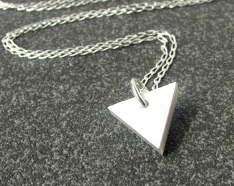 Triangle Pendant Necklace – Delicate Silver Necklace – Silver Pendant Necklace – Small Pendant necklace – Gift for Her – Laser Cut Acrylic